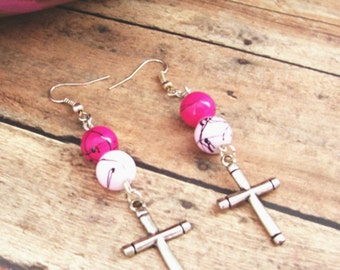 Religious Earrings With Cross Charm and Pink Beads, Christian Earrings Jewelry, Christian Jewelry