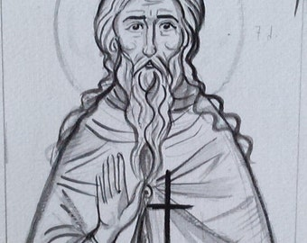 Drawing of Saint John the Hermit of Crete First step tracing icons- Cretan iconography Agios Ioannis Chania  art made in Greece