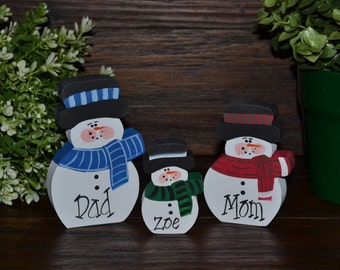 Christmas Decor Personalized Snowmen Family Set-Primitive Holiday Home Decor Christmas Decoration Personalized Snowman Family Gift Winter