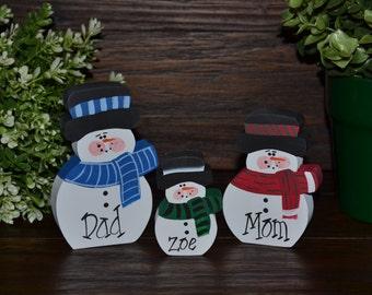 Christmas Decor Personalized Snowmen Family Set-Primitive Holiday Home Decor Christmas Decoration Personalized Snowman Family Gift Winter