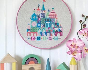 Pretty Little Baby - birth announcement - Satsuma Street customizable cross stitch pattern PDF - Instant download