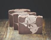 Vanilla Bean Soap   Sweet + Dreamy Scented Body Wash Bar, Handmade, Cold Process, Artisan Swirl, Vegan, Homemade, Brown, Gender Neutral Gift