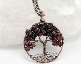 Tree Of Life Necklace Burgandy Garnet Pendant Dark Brown Trunk On Chain Wire Wrapped Semi Precious Gemstone Jewelry January Birthstone