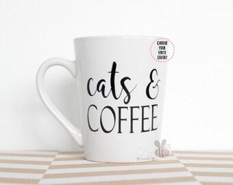 cats & COFFEE 14 oz White Mug--Choose Your VINYL COLOR!