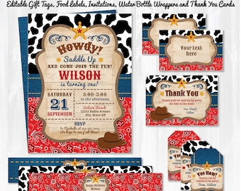 Western Invitations - Western Party - Western Birthday  - Western Labels - Western Thank You Cards - Instant Download - Cowboy