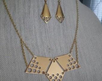 Polished Brass Metal Hole Punch Geometric Bib with Matching Earrings