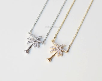 silver crystal Palm Tree Necklace, Dainty palm tree Pendant Necklace, wedding gifts, bridesmaid gifts, birthday gifts, gift ideas
