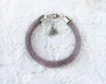 Beaded bracelet Crochet seed bead rope bracelet Lilac roll bracelet Women gift Bead crochet Trending Bohemian bracelet Summer bracelet