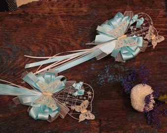 Flower Girl silver heart Wand - Silk & Organza Ribbon - Aqua (Other Colours Available)