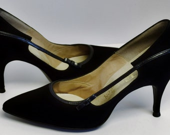 Vintage 1960's New Old Stock Fiancees Suede with Patent Leather Detail Shoes