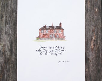 Jane Austen Print 5x7 Chawton House Print - Staying at Home Jane Austen Quote - Watercolor Print -  New Home Gift Family House Home