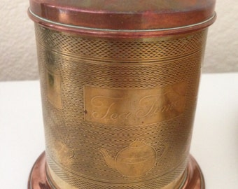 old copper and brass VINTAGE  tea caddy Chinoiserie style