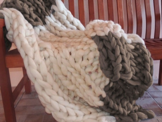 Chunky Blanket, 32x48, Pure Merino Wool, knit blanket, throw, hand knit, 100% wool blanket