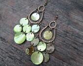 Green Shell Earrings, Green Chandelier Earrings, Green Boho Earrings, Mother of Pearl Earrings, Bohemian Shell Earrings
