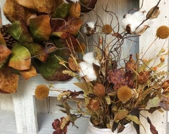 Farmhouse Floral Arrangment,Fixer upper style,Floral arrangement fall, Grass Arrangemnet,Magnolia market decor,Farmhouse decor, Rustic decor