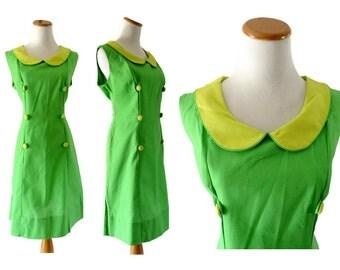 60s Mod Dress Peter Pan Collar Mini Shift 1960s Neon Lime Green Sleeveless Midi Twiggy Go Go Size Medium Lee Holliday