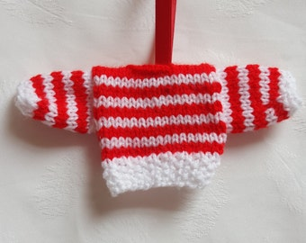 Knitted Mini Jumpers, Christmas tree decoration, Christmas tree ornament, Red and white stripey jumper, handmade tree ornament