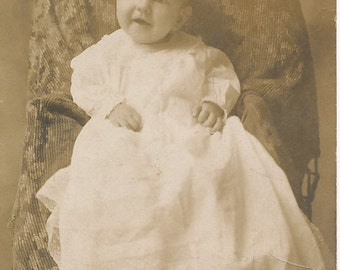 Antique Real Photo Postcard of Baby in White Lacy Dress