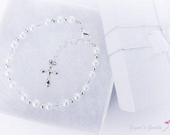 First Communion Bracelet, Holy Cross bracelet, Communion or Confirmation jewelry, Pearl White Bracelet