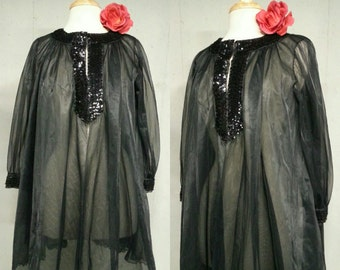 Vintage 50s Robe / Saks 5th Ave Eye-Full Black Frothy Chiffon Sequin Trim Trapeze Short Peignoir Dressing Gown Cover Up Bed Jacket
