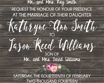 Wood Rustic Floral Wedding Invitation Floral