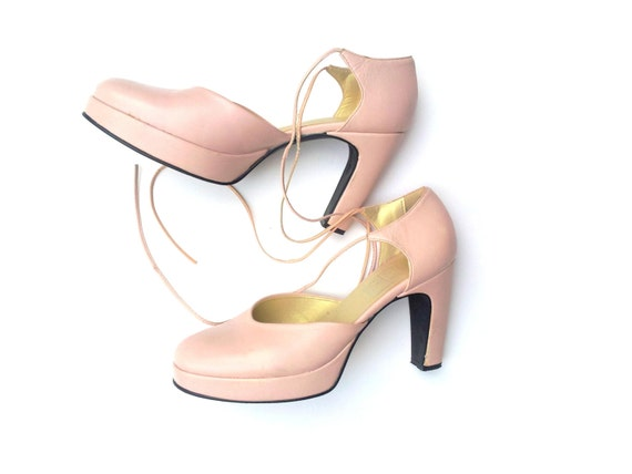 light pink shoes heel wedding size ita39 uk6 by
