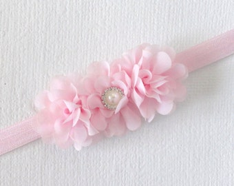 Light Pink Headband with Chiffon Flowers, Baby Headband, Flower Girl Headband, Toddler Headband, Girl Headwrap, Girls Photo Prop