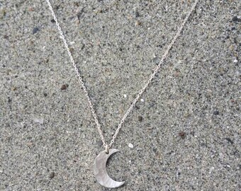 Small Sterling Silver Moon Necklace, Crescent Moon, Silver Necklace, Silver Moon, Hammered, Dainty Necklace, Silver Moon Necklace