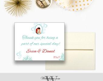 Little Mermaid Magnet Wedding Favors, Disney Wedding Favors, Ariel and Eric Postcard Magnets - Envelopes Included
