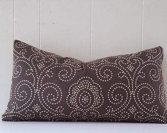 12x24 Chocolate Brown Linen Embroidered Throw Pillow Cover