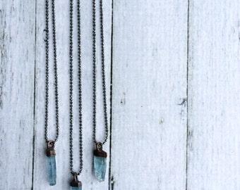 Aquamarine crystal necklace | Raw aquamarine sterling jewelry | March birthstone necklace | Raw aquamarine pendant | Rough aquamarine stone