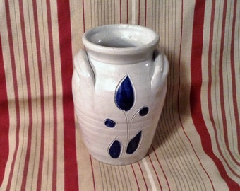 Vintage Salt Glaze Crock or Vase - Blue & White Williamsburg Pottery - 2 Handles - Miniature Double Handled Floral Vase