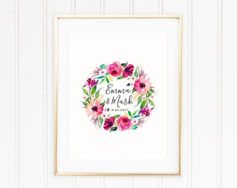 Guest Book Poster, Bold Watercolor Wreath of Flowers