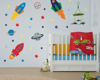 Boys Space Rockets, Stars and Planets Wall Stickers, Space Wall Decals, Rocket Wall Art Transfers - Removable and Repositionable - FA003