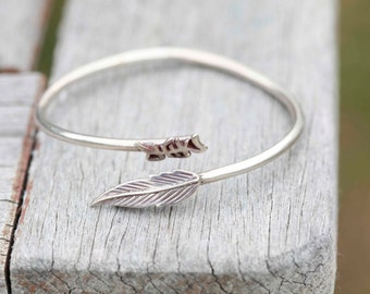 Sterling Silver Asian Leaf Bracelet Cuff Bangle