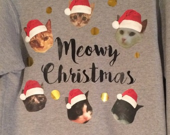 Meowy Christmas Sweatshirt / Happy Howlidays