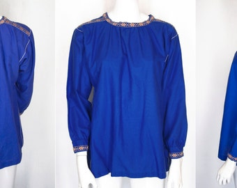 70s German Embroidered Peasant Folky Hippy Blouse