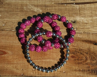 Magenta Elastic Shamballa Bracelet - Gold or Silver Spacers - 10mm beads