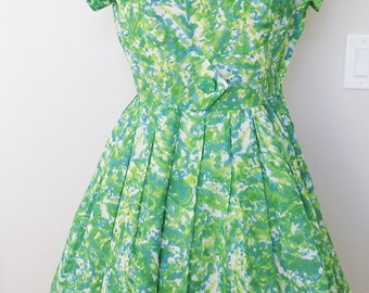 1960'S vintage green print cap sleeve dress