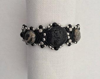 Micro Macrame Bracelet Black Lava