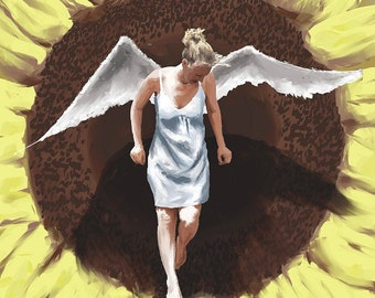 Print of Angel On Sunflower Painting