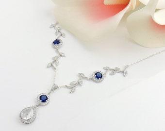 Sapphire CZ Vine And Teardrop Bridal Necklace Something Blue Bridal Necklace Sapphire Bridesmaid Necklace Art Nouveau FREE US Ship