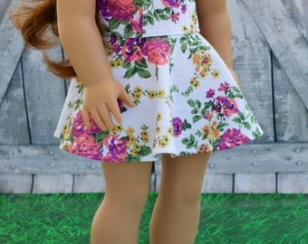 American Made Doll Clothes - White Floral Sleeveless Princess SKATER DRESS for 18 Inch