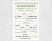 Zig Zag Bridal Shower Mad Libs Game - Personalized and Printable - Advice for the Couple - Bridal Shower Games