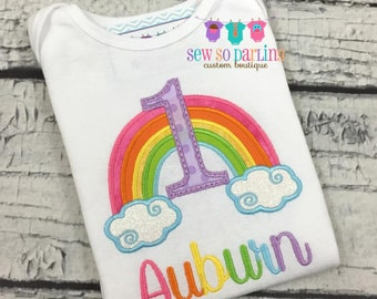 1st Birthday Girl Pink Rainbow Outfit - Baby Girl Rainbow Birthday Outfit - Rainbow Birthday Shirt- 1st Birthday Outfit