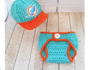 Miami Dolphins Baby Hat,Dolphins Baby Hat, Sport Baby Hat, Team Baby Hats, Baby boy clothes, Football hat, Boston hat, crochet hat
