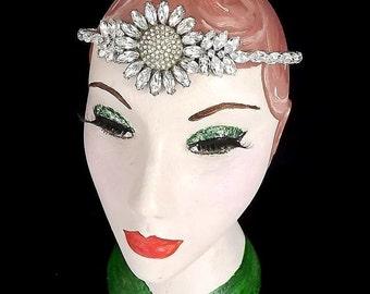 Art Deco Forehead Band, Bridal, Vintage Flapper Headpiece, Art Deco Tiara, Gatsby, 1920's Headband, Flower, Sunflower, Rhinestone, Wedding