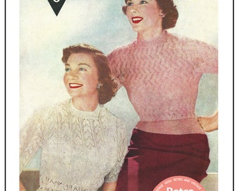 1950's Lace Sweater Knitting Pattern  - PDF Instant Download