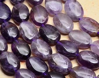 Natural, Amethyst Gemstone 15mm Oval Beads, FULL STRAND