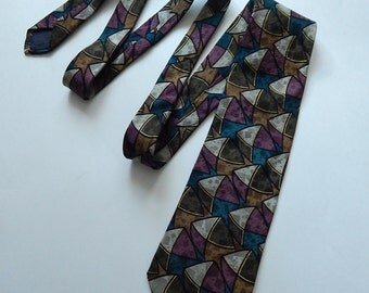 "59"" Hunting Horn J. Riggings Geometric Teal Brown Purple Mens Necktie Neck Tie Silk"